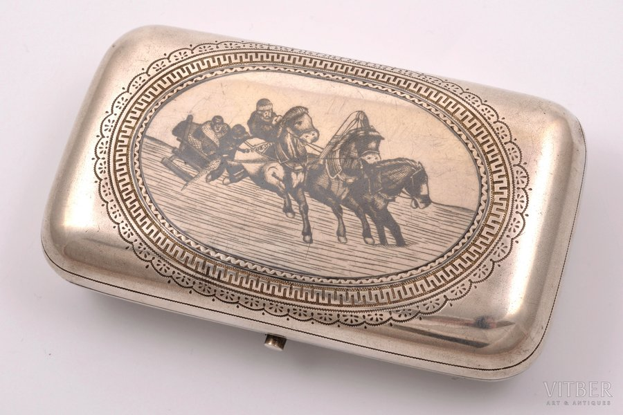 cigarette case, silver, 84 standart, Troika, niello enamel, the end of the 19th century, 161.35 g, Moscow, Russia, 11.5 x 6.7 x 2.5 cm