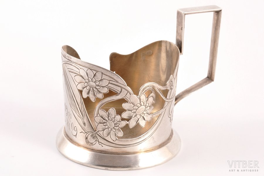tea glass-holder, silver, 84 standart, engraving, 1908-1917, 90.15 g, by I.Prokofyev, Moscow, Russia, Ø 6.3 cm, h 8 cm