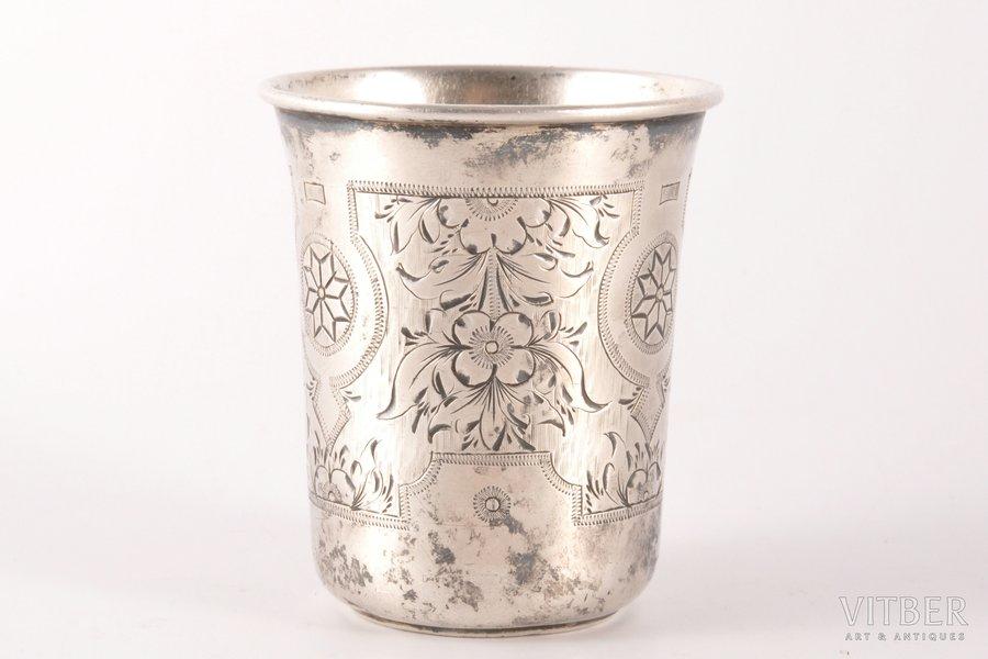beaker, silver, 84 standart, engraving, 1882, 50.50 g, Vasiliy Ivanov factory, Moscow, Russia, h 6.4 cm