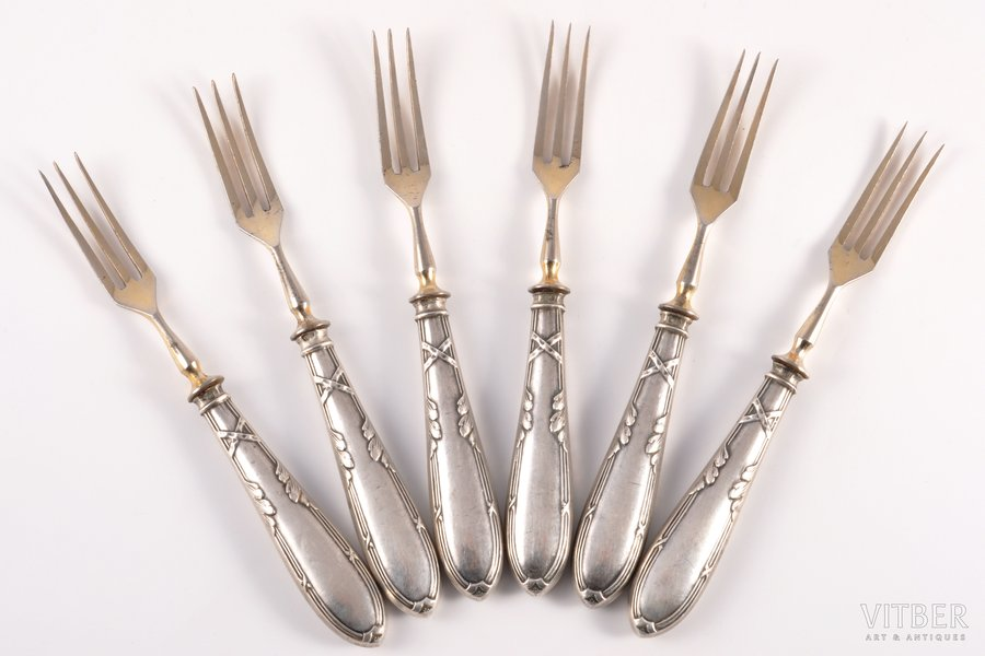 set of 6 dessert forks, silver, 84 standart, 1908-1917, (total weight of items) 129.45 g, Moscow, Russia, 15.2 cm