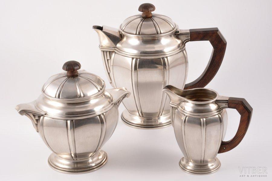 service: sugar-bowl, coffeepot, cream jug, silver, 950 standart, the 40ies of 20th cent., 464.90+240.15+726.50 g, Maison Eschwège, Paris, France, h (coffeepot) 18 cm, h (sugar-bowl) 14.5 cm, h (cream jug) 11 cm