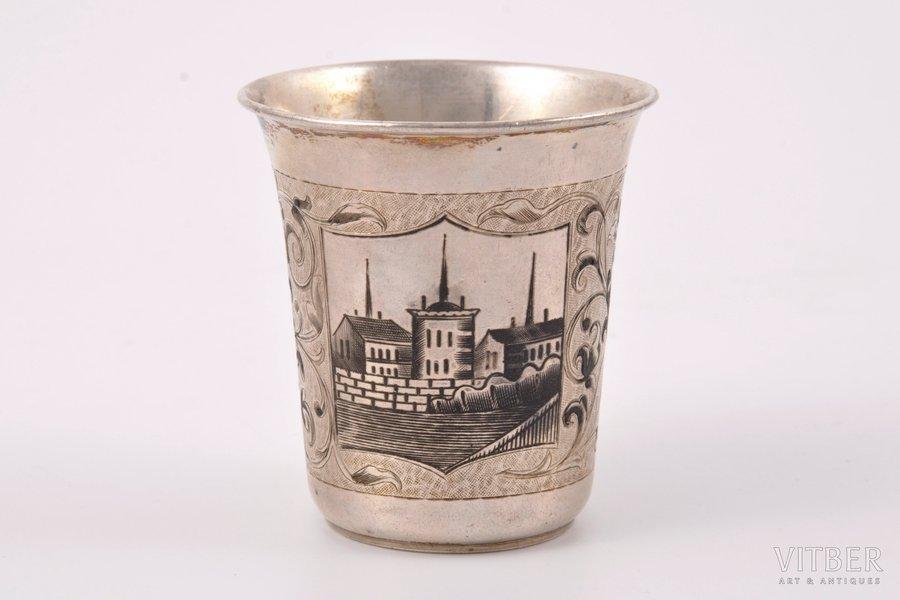 glāze, sudrabs, 84 prove, māksliniecisks gravējums, melnināšana, 1864 g., 70 g, meistars Dmitrijevs M., Maskava, Krievijas impērija, h = 6.8 cm, Ø = 6.2 cm