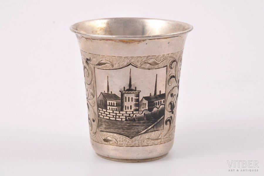 goblet, silver, 84 standart, engraving, niello enamel, 1864, 70 g, by Dmitriyev M., Moscow, Russia, h = 6.8 cm, Ø = 6.2 cm