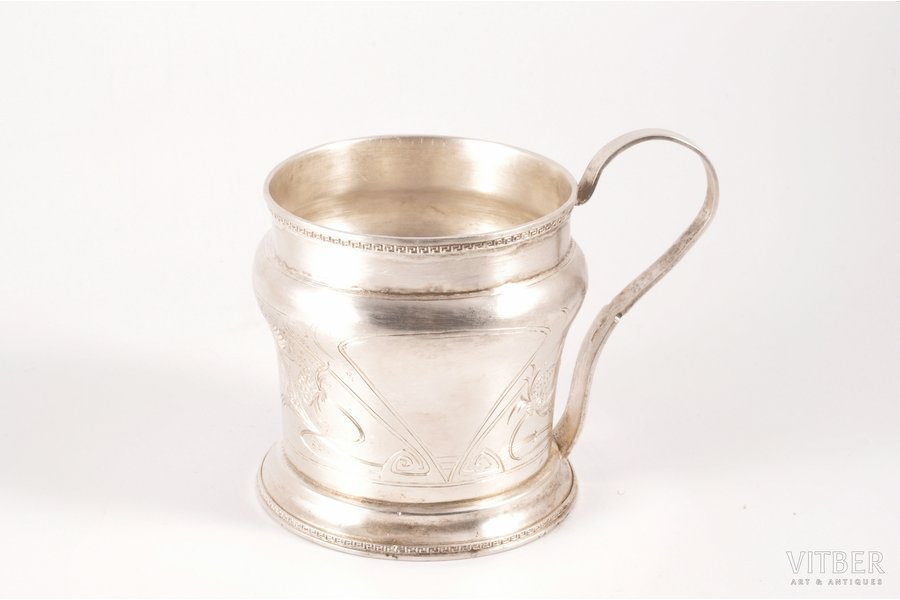 tea glass-holder, silver, non-original handle, 84 standart, engraving, 1908-1917, 143.15 g, Ivan Khlebnikov factory, Moscow, Russia, (without handle) h 7.5 cm, Ø (inner) 6.7 cm