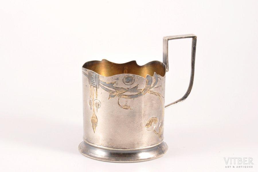 tea glass-holder, silver, 84 standart, engraving, 1908-1917, 85.60 g, Moscow, Russia, h 8.9 cm, Ø (inner) 6.3 cm