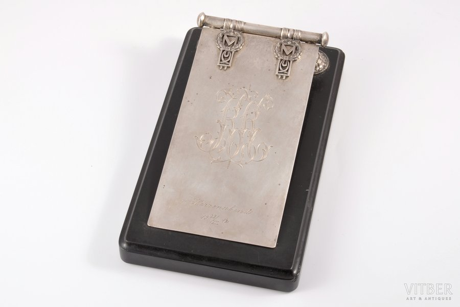 writing-case, silver, 84 standart, мрамор, 1908-1916, (вес серебра) ~188 g, by Gutav Klingert, Moscow, Russia, 20.5 x 12 cm