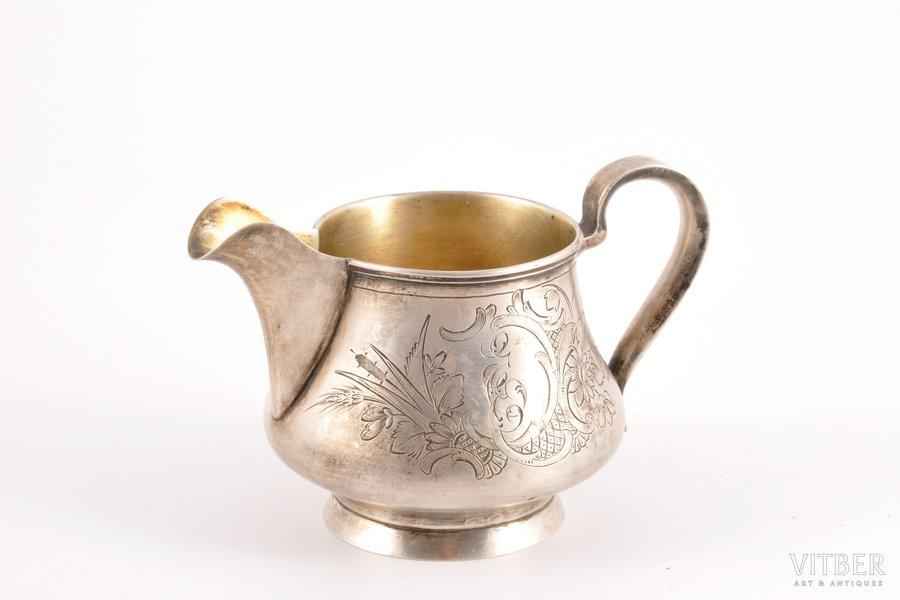 cream jug, silver, 84 standart, engraving, gilding, 1899-1908, 143.95 g, Moscow, Russia, 8.2 cm