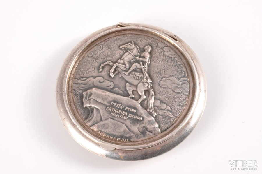 """powder-box, silver, with an image of the monument to Peter the Great, """"the Bronze Horesman"""", 875 standart, silver stamping, 1955, 62.20 g, Leningrad Jewelry Factory, Leningrad, USSR, (item's weight) Ø 6.5 cm"""