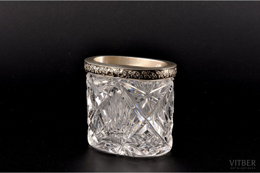 ваза, серебро, хрусталь, 875 проба, 30-е годы 20го века, (вес изделия) 178.00 г, Латвия, 6.7 см