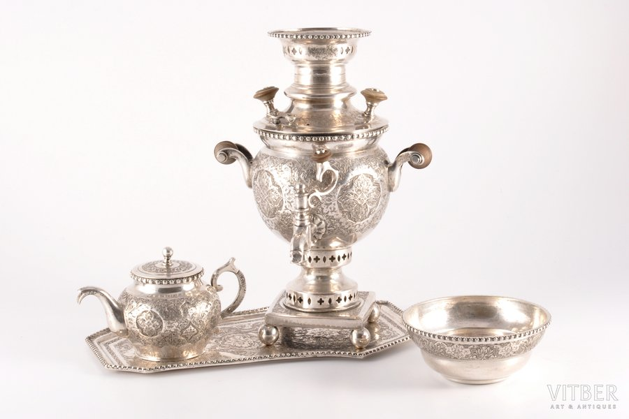 set: miniature samovar, small teapot, tray, drinking bowl, silver, 84 standart, engraving, (samovar) 645.85 g, (tray) 169.25 g, (drinking bowl) 85.65 g, (small teapot) 132.70 g, Persia, (samovar) 19.5 cm, (tray) 21 x 13 cm, Ø (drinking bowl) 8.8 cm, (small teapot) 6.5 cm