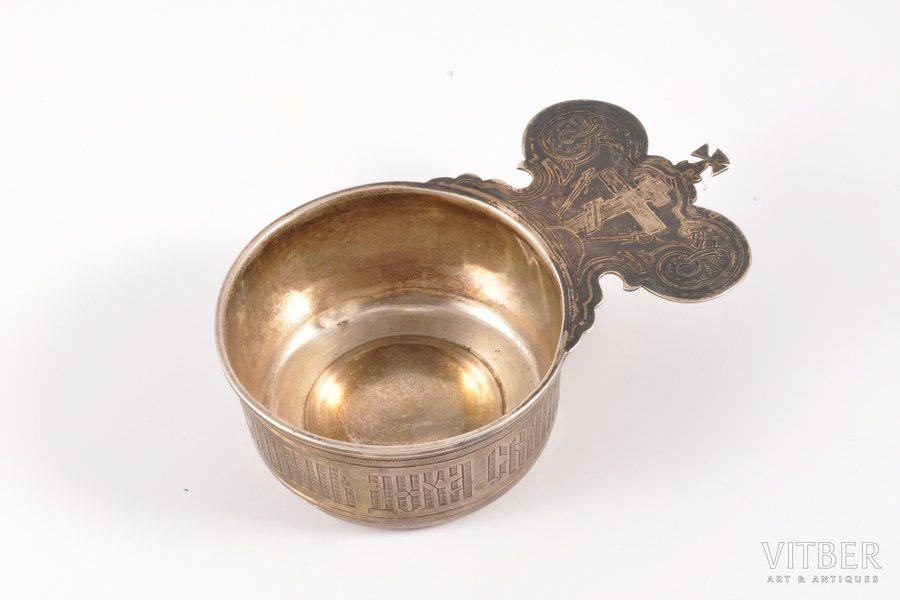 zeon cup, silver, 84 standart, engraving, 1895, 75.25 g, P. Milyukov workshop, Moscow, Russia, 12 x 7.4 x 3.4 cm