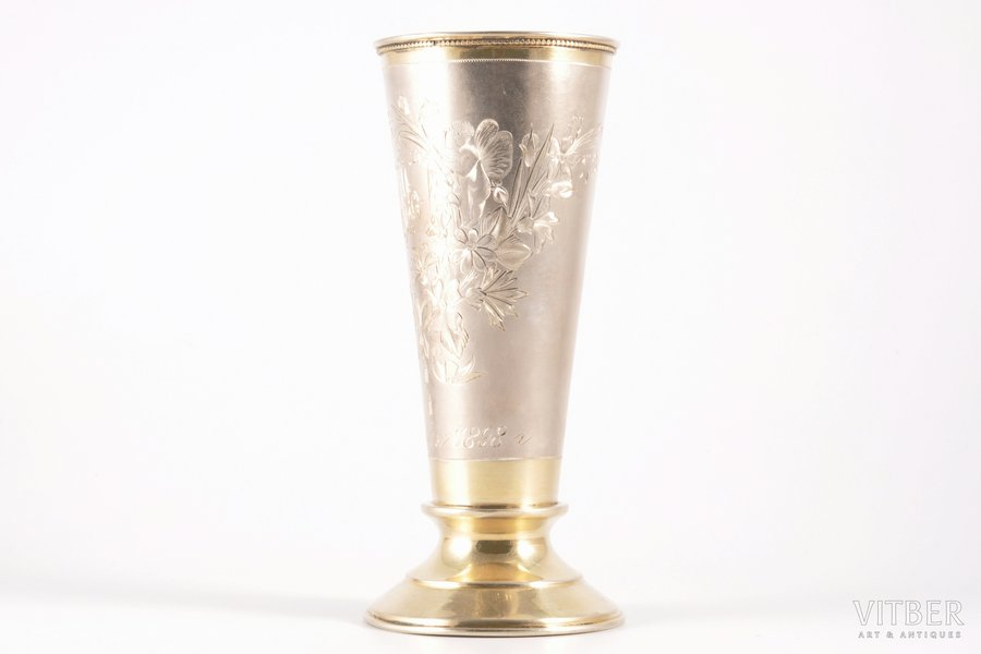 wine glass, silver, 84 standart, engraving, gilding, 1880-1889, 178.30 g, Moscow, Russia, h = 16.5 cm, Ø = 7.5 cm