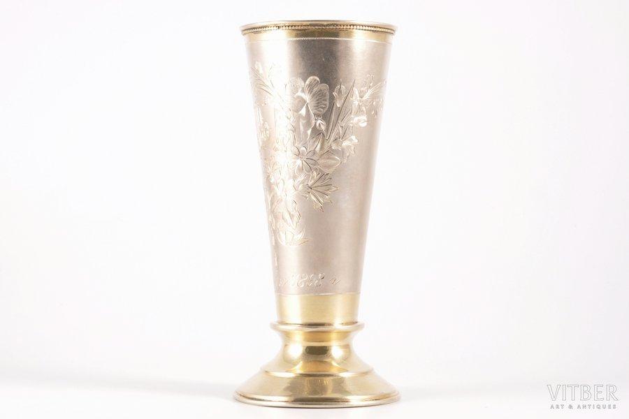 бокал, серебро, 84 проба, штихельная резьба, золочение, 1880-1889 г., 178.30 г, Москва, Российская империя, h = 16.5 см, Ø = 7.5 см