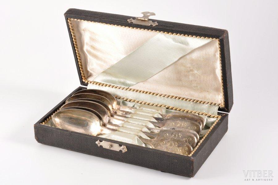 set of teaspoons, 6 pcs, silver, 84 standart, engraving, 1908-1917, 235.85 g, Morozov workshop, St. Petersburg, Russia, 15.3 cm, in a box