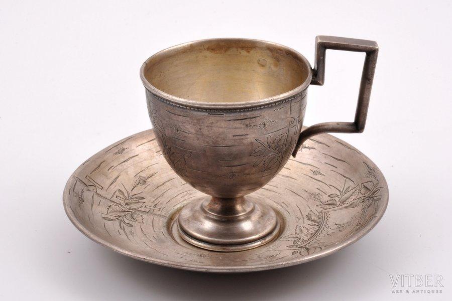 tea pair, silver, 84 standart, engraving, 1895, 74.65+75.20 g, Moscow, Russia, Ø (saucer) 12.2 cm, h (cup) 7.7 cm