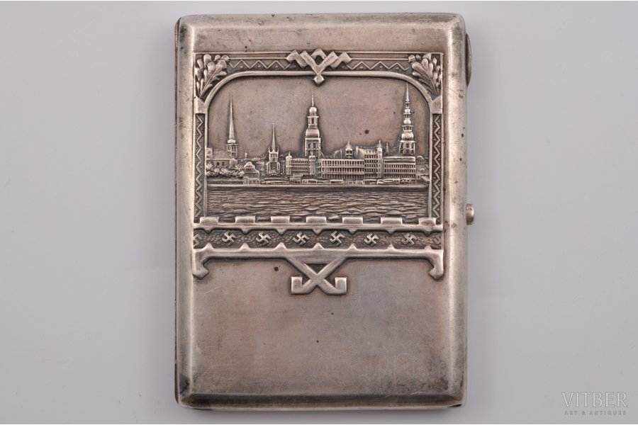 "cigarette case, silver, 875 standart, ""View of Riga"", gilding, silver stamping, the 30ties of 20th cent., 150.70 g, Riga, Latvia, 10.8 cm"