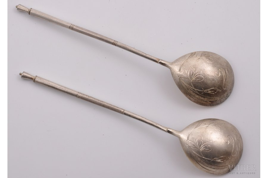 2 spoons, silver, Art Nouveau, 84 standart, gilding, engraving, 1908-1917, (total) 55.80 g, by Nikolay Pavlov, Moscow, Russia, 16.7 cm