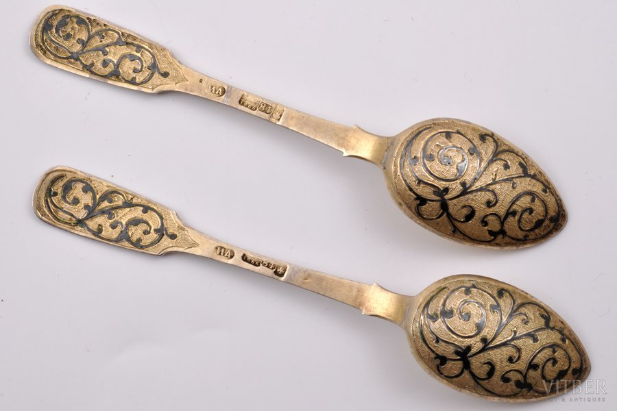 2 spoons, silver, 84 standart, gilding, niello enamel, engraving, 1866, (total) 38.45 g, Moscow, Russia, 13.3 cm
