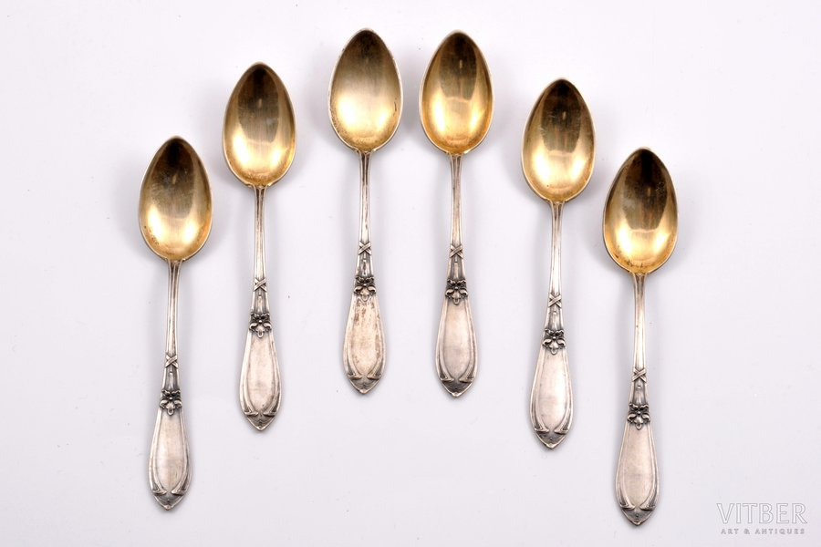 set of 6 coffee spoons, silver, 875 standart, the 30ties of 20th cent., 88.05 g, Latvia, 11.3 cm