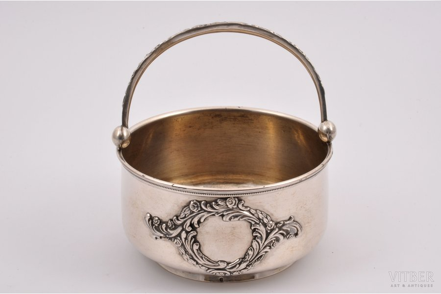 candy-bowl, silver, 875 standart, the 30ties of 20th cent., 198.20 g, Latvia, Ø 11 cm