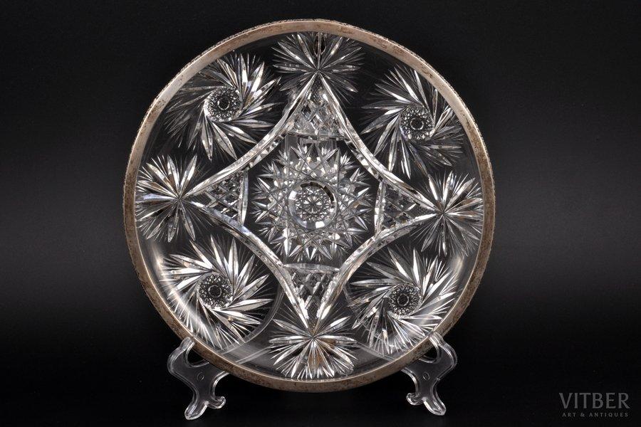 тарелка, серебро, 875 проба, хрусталь, 30-е годы 20го века, (вес изделия) 1400 г, Латвия, Ø 26, h=3.5 см