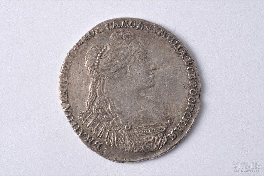 poltina (50 kopeikas), 1736 g., (broša ar 3 pērlēm), sudrabs, Krievijas Impērija, 12.45 g, Ø 34.6 - 36.1 mm, AU