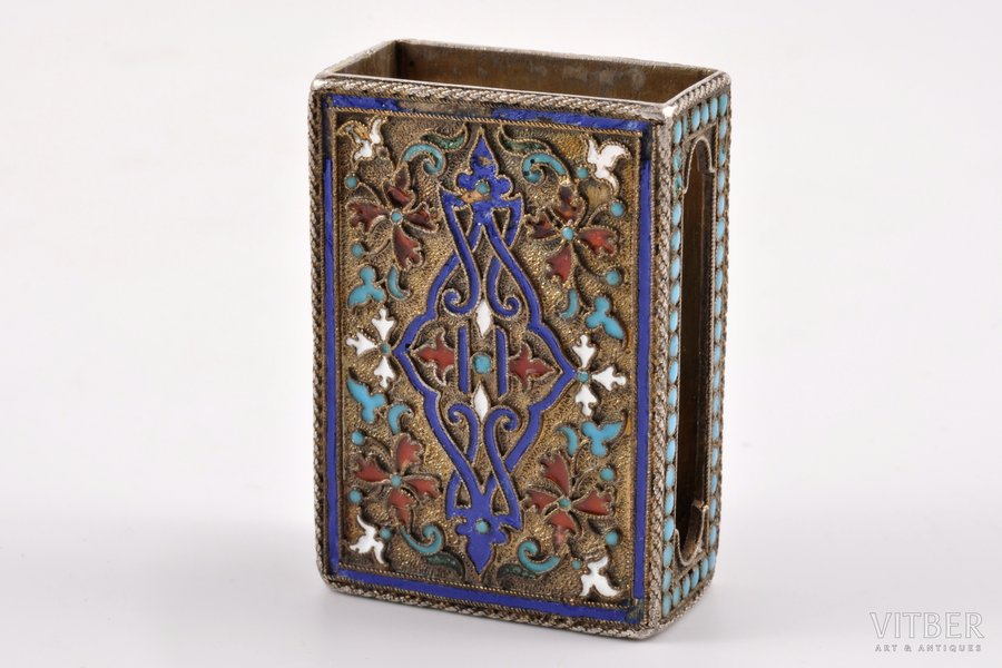 matches' holder, silver, 84 standart, cloisonne enamel, the end of the 19th century, 31.40 g, Vasiliy Semenov factory, Moscow, Russia, 4.4 x 3.1 x 1.6 cm