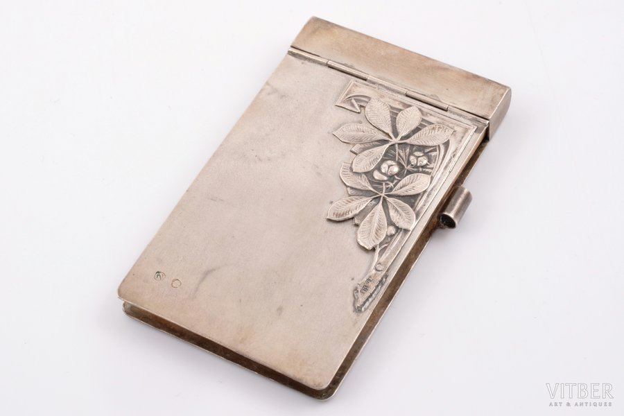 notebook, silver, 875 standart, the 20ties of 20th cent., 42.60 g, Latvia, 8.3 x 4.8 cm