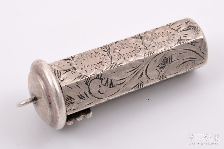 lipstick case, silver, 835 standart, engraving, the 1st half of the 20th cent., 20 g, (item)g, Czechoslovakia, 5.1 x 1.8 x 1.8 cm