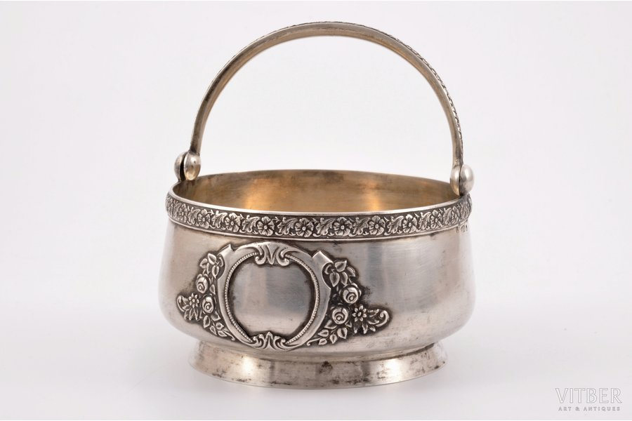 candy-bowl, silver, 875 standart, the 30ties of 20th cent., 204.85 g, Latvia, Ø 11 cm