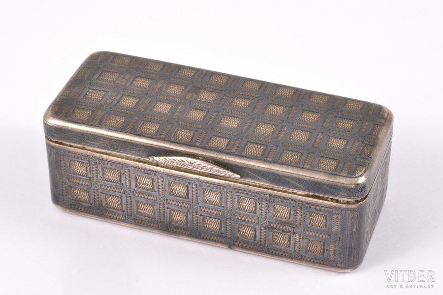 snuff-box, silver, 84 standart, engraving, niello enamel, gilding, 1863, 70.45 g, Moscow, Russia, 7 x 3 x 2.5 cm