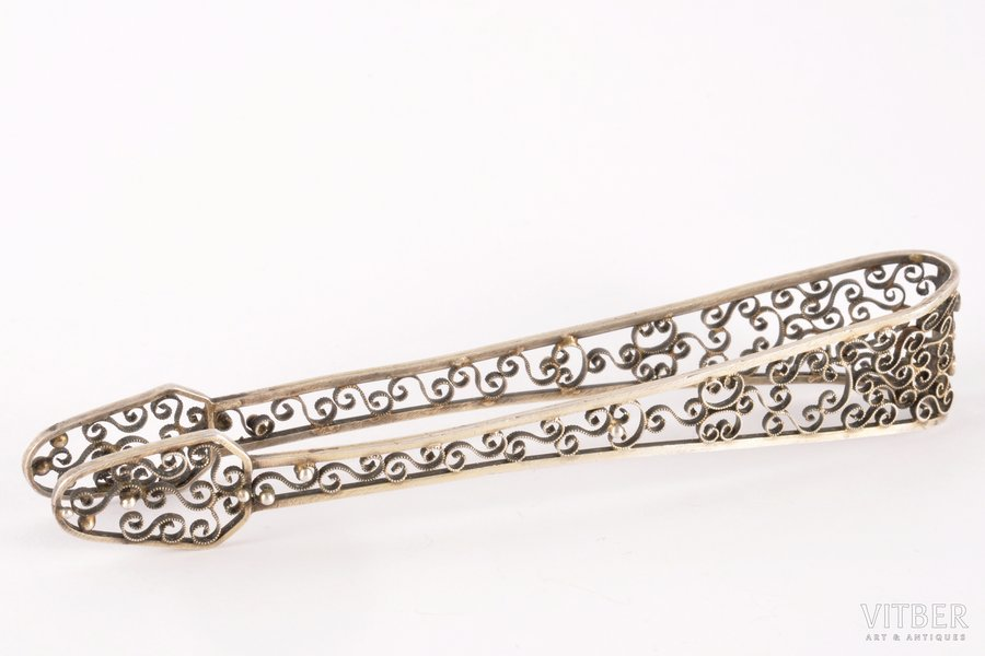 sugar tongs, silver, 875 standart, the 30ties of 20th cent., 24.75 g, Latvia, 14 cm