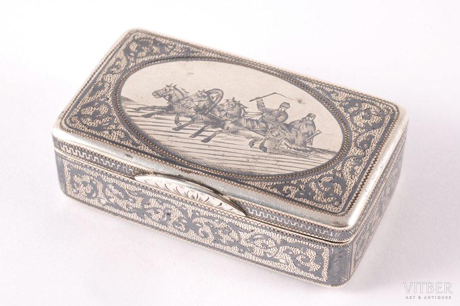 tabakas doze, sudrabs, 84 prove, Trijjūgs, melnināšana, 1896-1907 g., 44.85 g, Maskava, Krievijas impērija, 5.6 x 3.2 x 1.9 cm