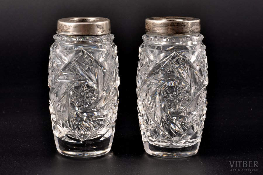 a vase, silver, 875 standart, 2 vases, crystal, the 20ties of 20th cent., Latvia, h = 7.8 cm