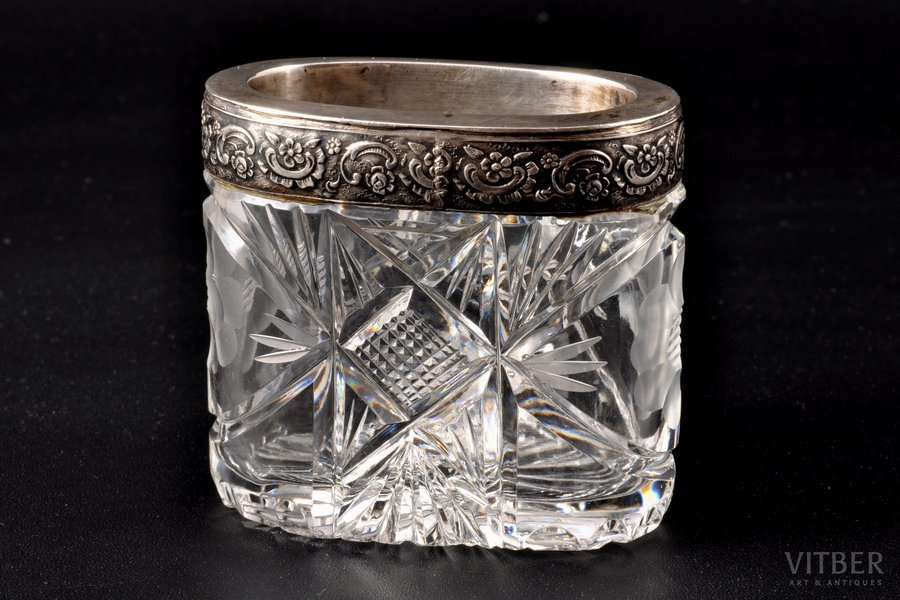 cigarette tray, silver, 875 standart, crystal, the 30ties of 20th cent., Latvia, h = 6.2 cm