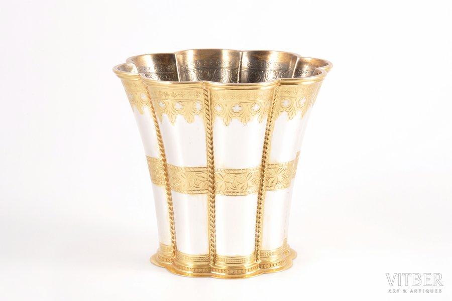 "a vase, silver, 925 standart, gilding, silver stamping, the 60-70ies of 20th cent., 249.35 g, ""A. Michelsen"", Copenhagen, Denmark, 9.7 cm"