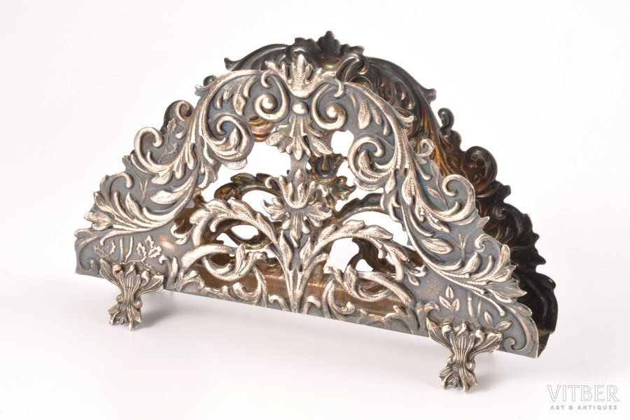 serviette holder, silver, 875 standart, silver stamping, the 30ties of 20th cent., 58.95 g, by Ludwig Rosenthal, Riga, Latvia, 7 x 11.6 cm