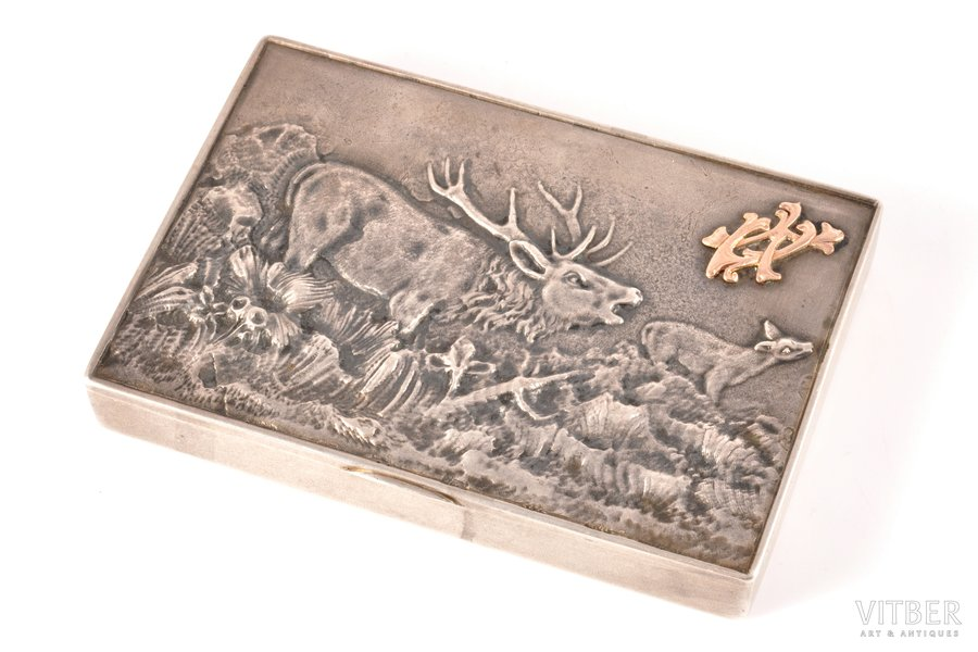 """cigarette case, silver, 84 standart, commemorative, """"from the artillery warehouse officers and the privates"""" (with gold monograms), gilding, silver stamping, 1908-1916, 251.15 g, Kiev, Russia, 11 x 7.6 x 0.9 cm"""