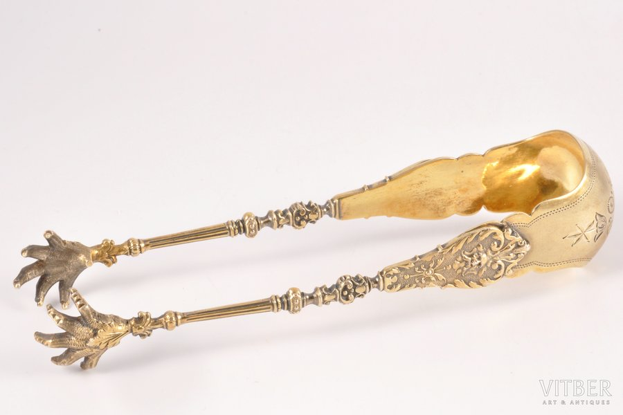 sugar tongs, silver, 84 standart, gilding, the end of the 19th century, 61.35 g, Riga, Russia, 14.7 cm
