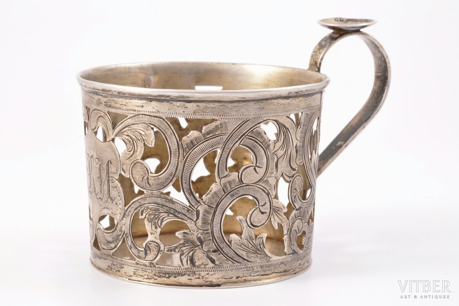 tea glass-holder, silver, 84 standart, engraving, 1875, 80.85 g, Moscow, Russia, h = 7 cm, Ø (inside) = 6.9 cm