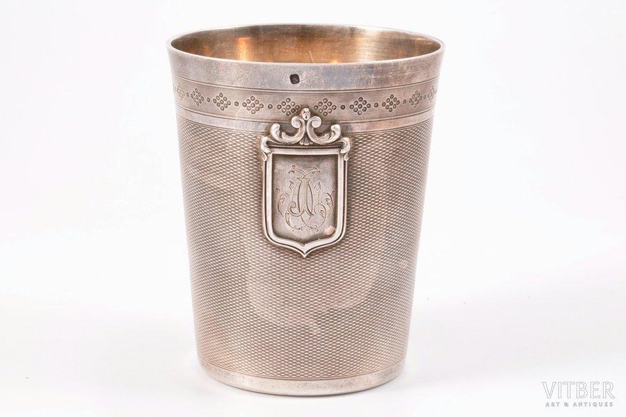 стакан, серебро, 950 проба, начало 20-го века, 154.75 г, Франция, h = 9 см, Ø = 7.4 см