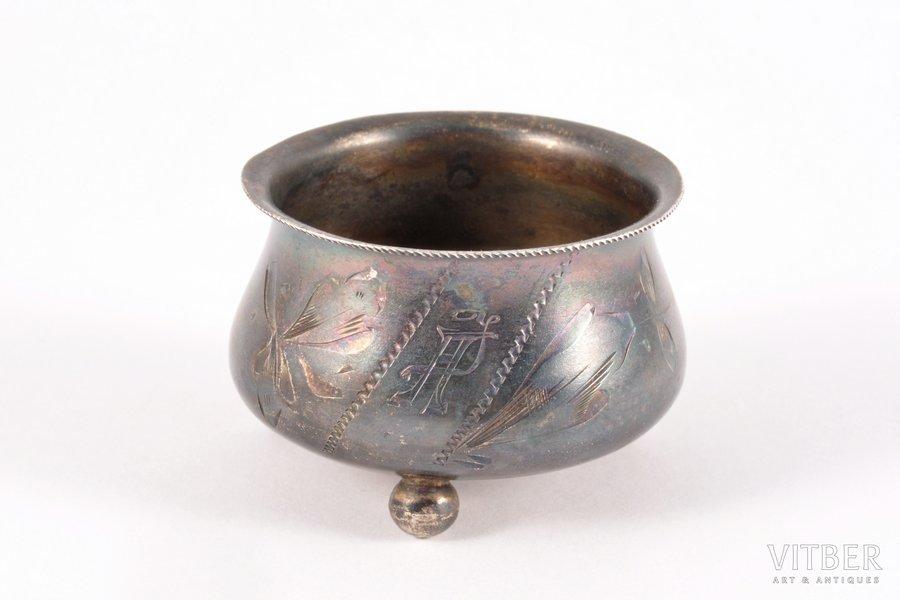 saltcellar, silver, 84 standart, engraving, 1908-1916, 18.35 g, by Ivan Manilov, Kostroma, Russia, Ø 43 cm