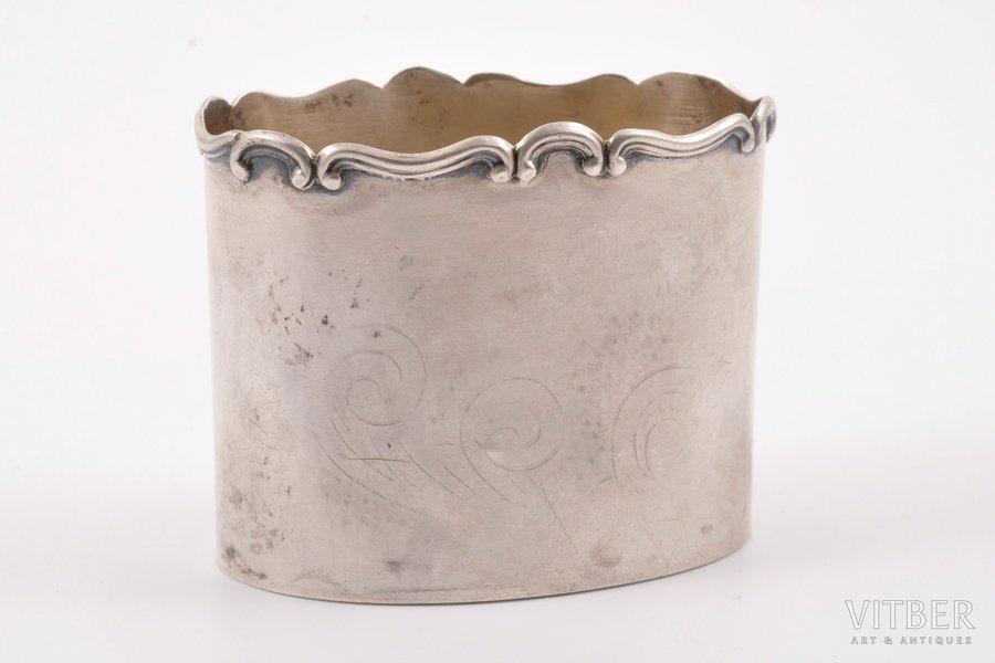 serviette holder, silver, 875 standart, the 30ties of 20th cent., 41.40 g, Latvia, 5 x 6.2 x 4.2 cm