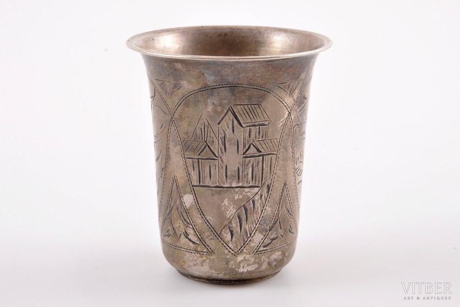 little glass, silver, 84 standart, engraving, 1894, 39.40 g, Kiev, Russia, h = 6.45 cm, Ø = 5.56 cm