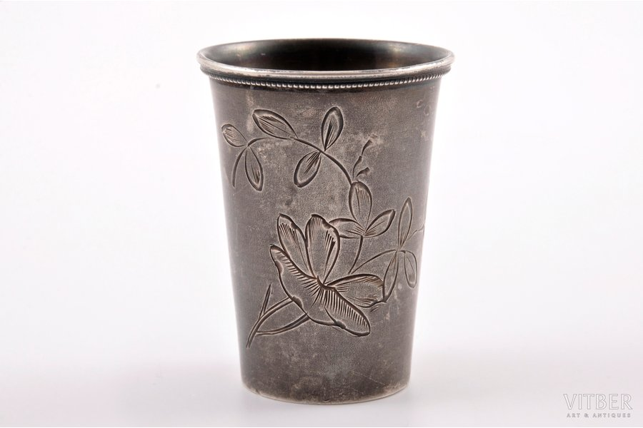 little glass, silver, 84 standart, engraving, 1896-1907, 20.90 g, by Roman Aristarhov, Moscow, Russia, h = 4.8 cm, Ø = 3.6 cm