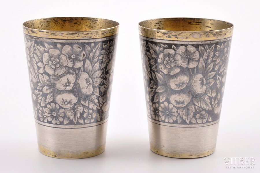"set of 2 beakers, silver, 875 standart, niello enamel, 1959, 77.85 g, artel ""Severnaya Chern"", Moscow, USSR, h = 5.85 cm, Ø = 4.3 cm"