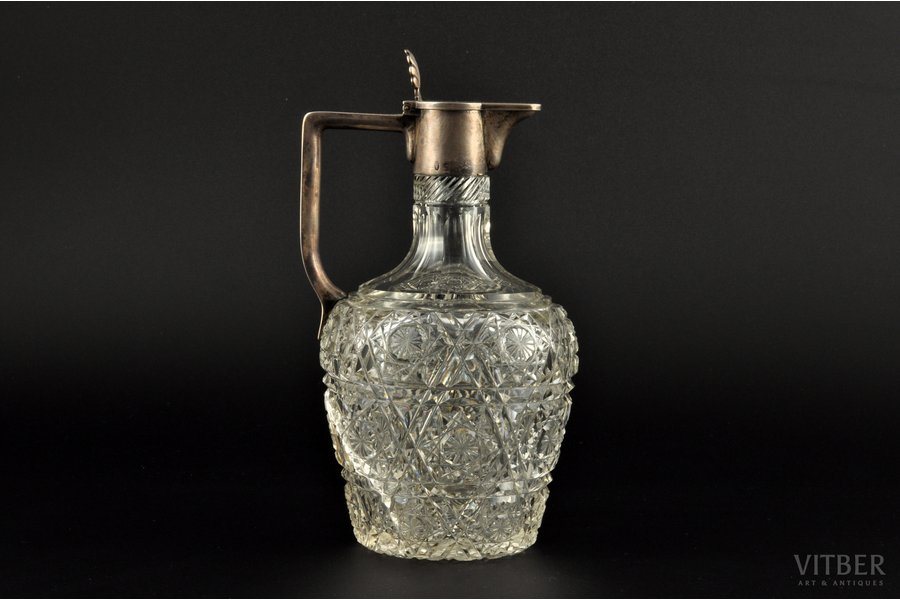 carafe, silver, 84 standart, crystal glass, the border of the 19th and the 20th centuries, St. Petersburg, Russia, h 18.3 cm, defect (crack)