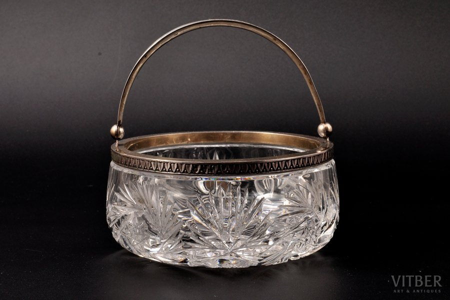 candy-bowl, silver, 875 standart, crystal, the 20ties of 20th cent., Latvia, Ø = 13 cm, h (without handle) = 6 cm