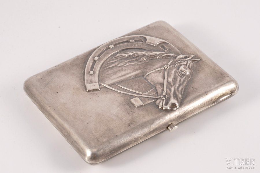 cigarette case, silver, 875 standart, silver stamping, the 30ties of 20th cent., 199.25 g, Latvia, 11 x 8.5 x 1.6 cm