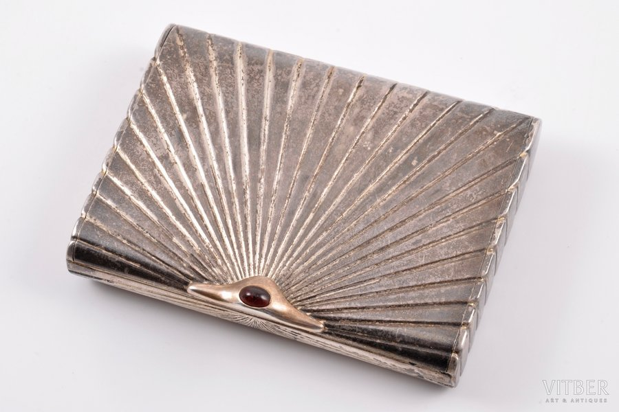 ladies snuff-box, silver, 875 standart, gilding, the 30ties of 20th cent., 139.80 g, Latvia, 8.6 x 6.4 x 1.6 cm